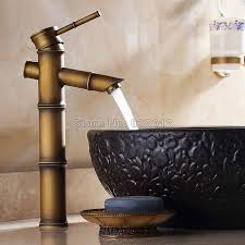 aliexpress com retro bamboo style bathroom faucet single hole deck mounted antique brass single handle vessel sink mixer taps wnf108 from reliable