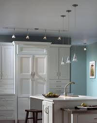 blue track lighting. Kitchen, Chrome Kitchen Track Lighting Design Idea White Painted Ceiling Pure Wooden Laminate Cabinet Blue