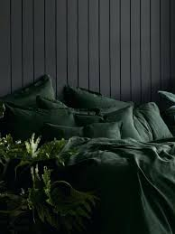 forest green bedding pure linen pillowcase set in twin bedspread