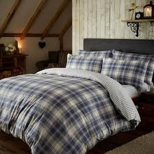 catherine lansfield home tartan 100 brushed cotton flannelette duvet cover set navy blue