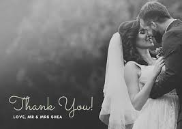 Grayscale Photo Wedding Thank You Note Postcard - Templates By Canva