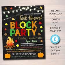 Block Party Flyer Editable Fall Block Party Festival Harvest Invite Flyer Printable Halloween Invitation Neighborhood Halloween Party Church School Festival
