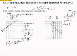 graphing equations in slope intercept form worksheet images free