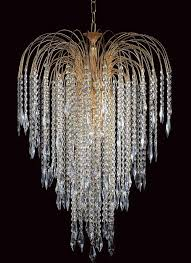 shower long chain strass crystal 6 light chandelier gold