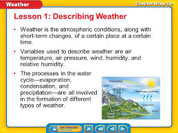 Key Concepts 1 Weather Is The Atmospheric Conditions Along With