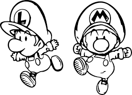 Super Mario And Luigi Mini Child Coloring Page Wecoloringpagecom