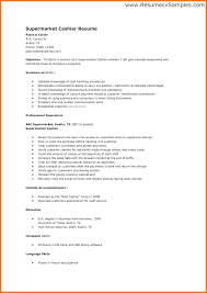 Supermarket Cashier Resume Simple Example Resume For Cashier Resume Example Resume Unique Example