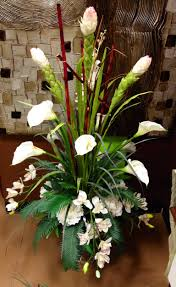 white calla lily and orchid arrangement designed by arcadia floral