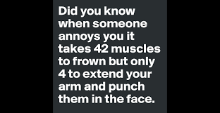 did you know when someone annoys you it takes muscles to frown did you know when someone annoys you it takes 42 muscles to frown but only 4 to extend your arm and punch them in the face