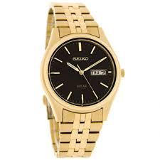 tic watches seiko sne044 black dial gold stainless steel solar seiko sne044 black dial gold stainless steel solar men s watch