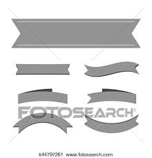 Ribbon Banner Template Black And White Black Ribbon Banners Set Clipart K44797261 Fotosearch