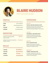 School Resume Amazing Orange Warm Modern Photo High School Resume Templates By Canva
