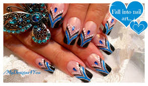 Blue French Tip Nail Art | Abstract Nail Art Design Tutorial ...