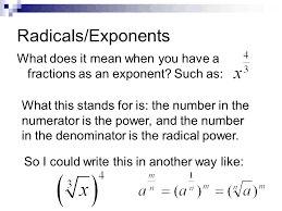 3 radicals exponents what