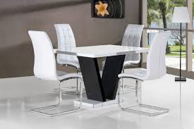 vico white black gloss contemporary designer 120cm dining table only 4 black white chairs