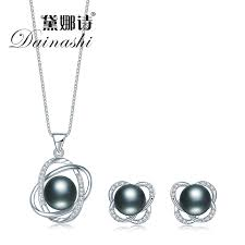 dainashi 2017 top quality trendy cross 925 sterling silver jewelry sets pendant necklace earring pearl pendant earrings jewelry trending