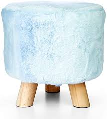 "LIVINGbasics™ 11"" <b>Round</b> Ottoman, 3-Legged Decorative <b>Faux Fur</b> ..."