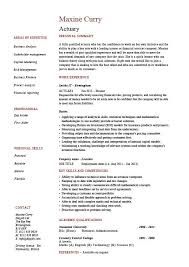 Actuary Resume Financial Risks Career History Example