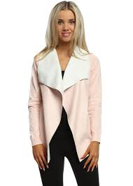 baby pink faux leather waterfall silky short cardigan