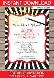 Downloadable Birthday Invitations Magic Party Invitations Template Birthday Party