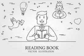 man reading a book and imagining the story think line icon vec stock
