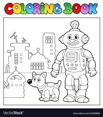 coloring book robot theme 1 vector image