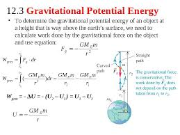 gravitational potential energy depends on the distance r between the of mass m and the center of the earth when the moves away from the earth