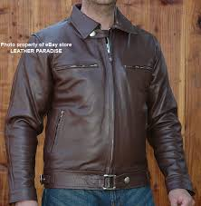 german pilot style leather motorcycle jacket coat brown