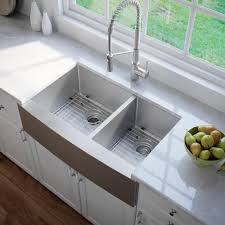 farmhouse double bowl stainless steel kitchen sink with noisedefend 8482 soundproofing kraus standart pro 8482 36 inch 16 gauge 60 40 double bowl