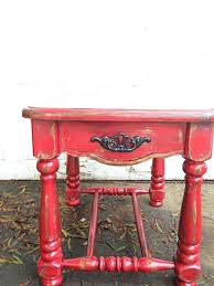 shabby chic red furniture. rustic barn red side table shabby chic heavily distressed hand painted furniture autumn decor mountain cabin e