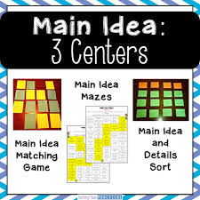 Main Idea Centers for Upper Elementary - 3rd, 4th, and 5th grade ...