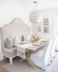 upholstered banquette wood dining room