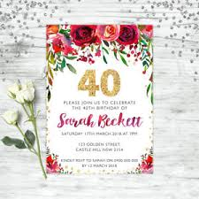 40th Birthday Invitations Details About 40th Birthday Invitations Forty Personalised Party Supplies Invite Floral Red