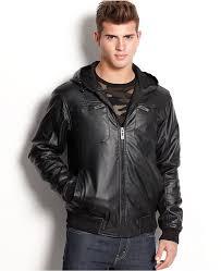 brave soul jacket hooded faux leather er