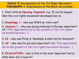 higher history usa essay development of the civil rights   plan for paragraph 5 pptx