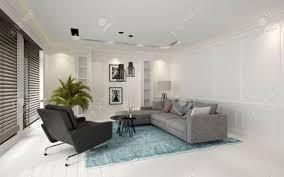 Gezellige Moderne Witte Woonkamer Interieur Met Grote Ramen Bedekt