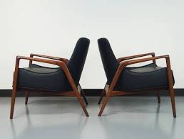 danish modern leather lounge chairs by ib kofodlarsen at stdibs
