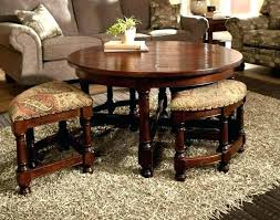 coffee table with ottomans underneath four round designs cocktail tab