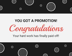 Simple Promotion Congratulations Card Template