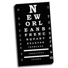 20x36 New Orleans Inspiried Eye Chart Typography Stretched Canvas