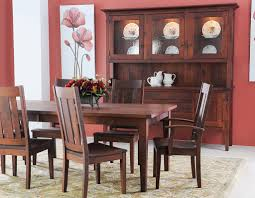 this rugged and study plank table dining room set features a 1 1 8 thick top with a 16 table leaf extension and a tongue and groove breadboard end