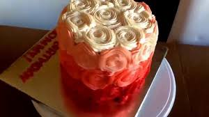 Joyce Gourmet Red Ombré Whipped Cream Birthday Cake Happy