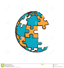 Puzzle Globe Logo Globe Puzzle Pieces Image Stock Illustration Illustration