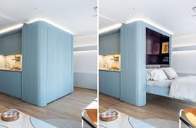 two murphy beds are in the walls
