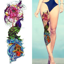 Us 149 10 Offbeach Watercolor Peacock Temporary Tattoo Louts Women Full Leg Art Waterproof Tattoo Stickers Girl Arm Flash Fake Tatto Carp In