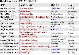 Calendar 2019 Printable With Holidays 2019 Calendar Holiday Printable Uk Bank Holidays 2019 1 3 Happy