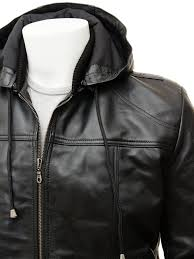 men s black leather hoo jacket chelfham side