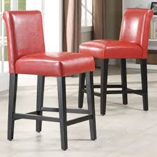 red leather bar stools. Bennett 24 Inches Red Faux Leather High Back Bar Stools (Set Of 2) By