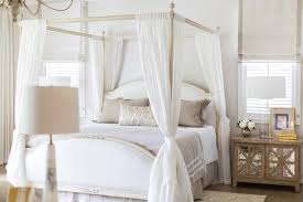 French Canopy Bed with Sheer Curtains Tied to Posts - Transitional ...
