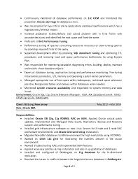 Dba Resume Resume Templates
